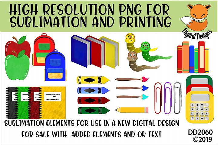 School Elements PNG for Sublimation