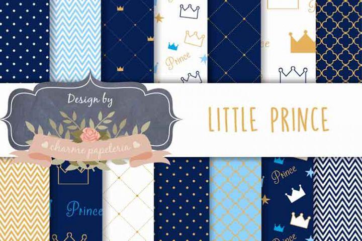 Little Prince Digital Paper, Golden Prince, Baby Shower