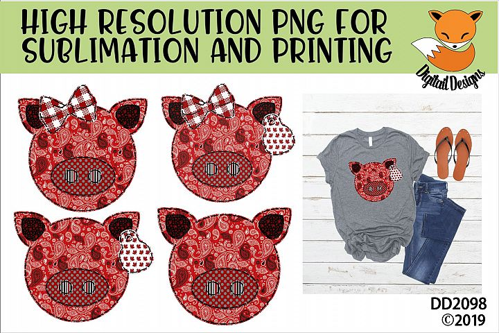 Canadian Country Faux Patchwork Pig Sublimation