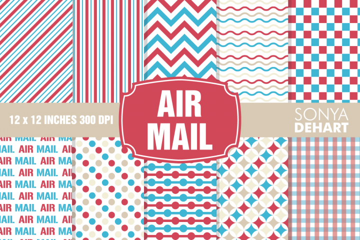 Air Mail Postal Digital Paper Pattern Pack