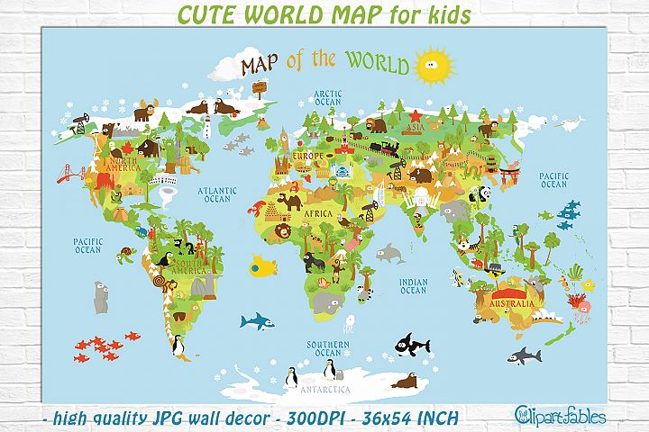 Cute Printable WORLD MAP for kids - gender neutral room art