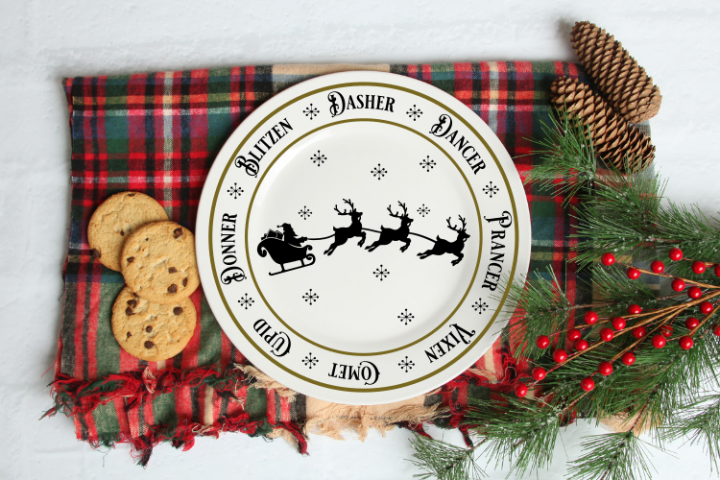 Christmas Santa Reindeer Plate svg cut file