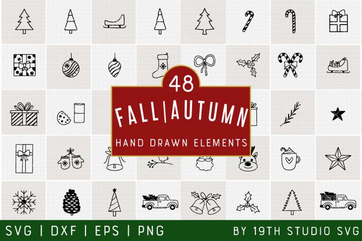Christmas Hand drawn elements   Christmas SVG Bundle  VB40