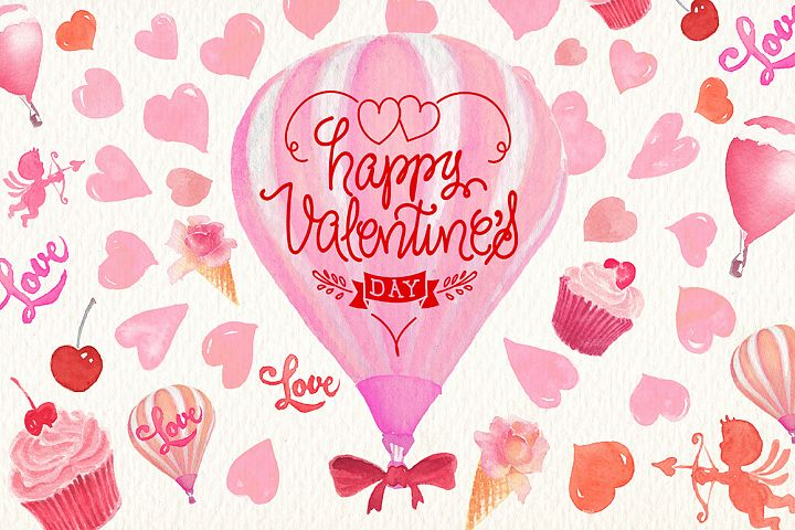 Valentines day watercolor clipart