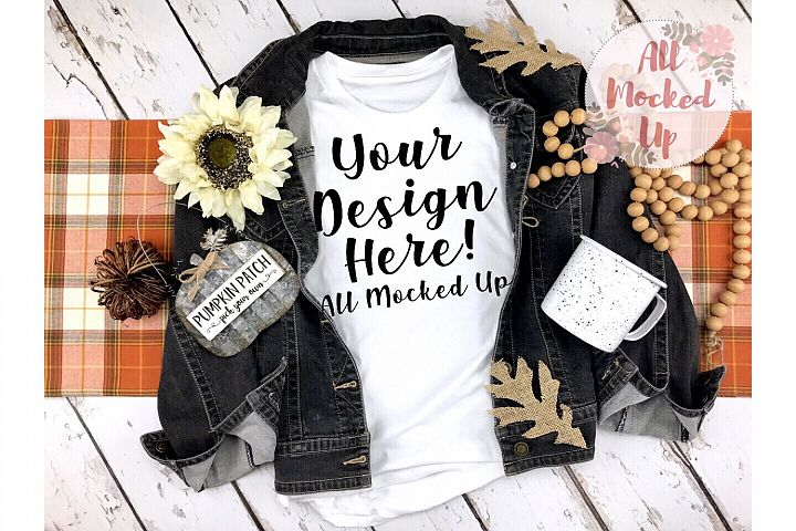 Bella Canvas 3413 or 3001 Shirt Mock Up FALL Theme 9/19
