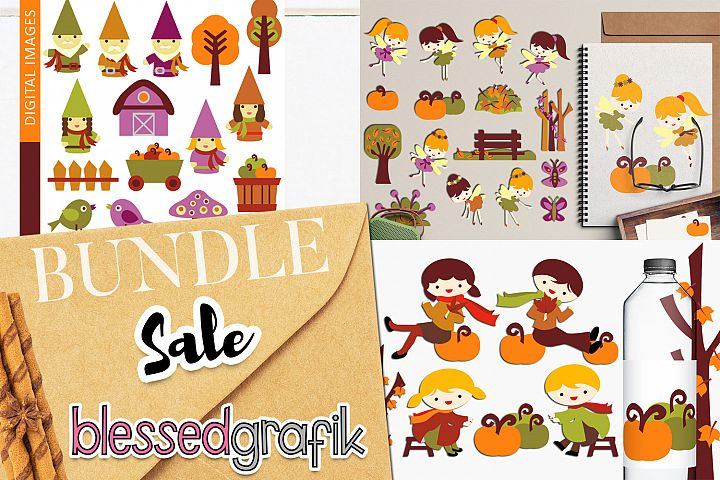 Autumn bundle - Fall season clip art illustrations