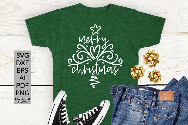 Merry Christmas SVG - Christmas tree SVG cut file