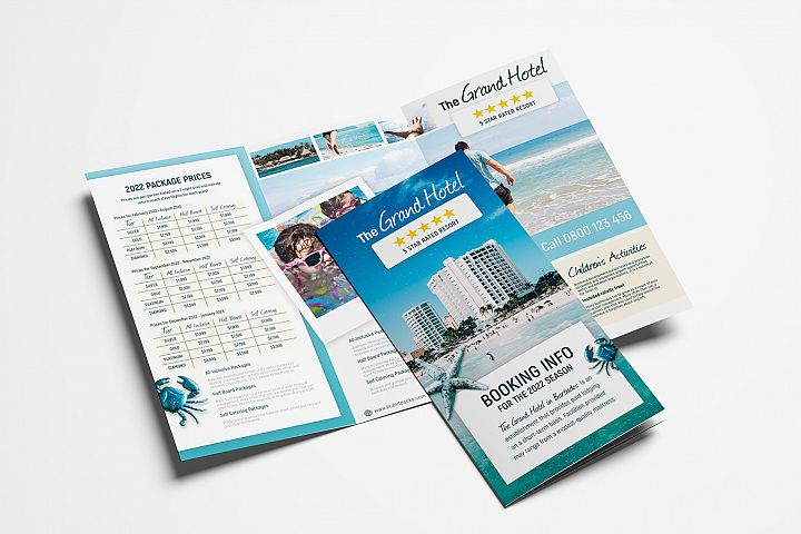 Travel Hotel Tri-Fold Brochure Template