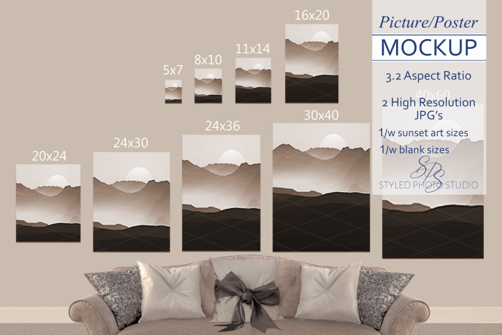 Size Chart Poster Mockup, Portrait Picture Sizing Template