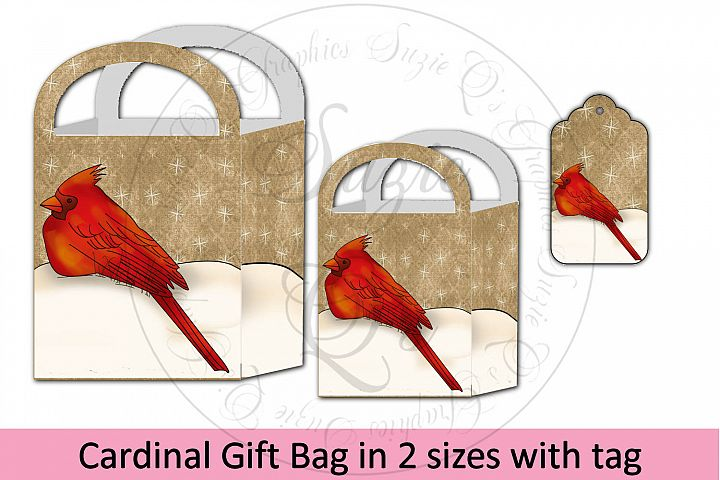 Cardinal Gift Bag in two sizes with tag