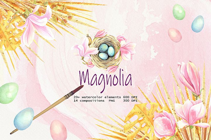 Watercolor Magnolia Clip Art set