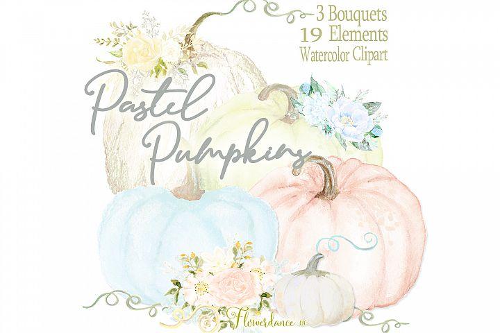 Pastel Pumpkins Watercolor Clipart with Bouquets