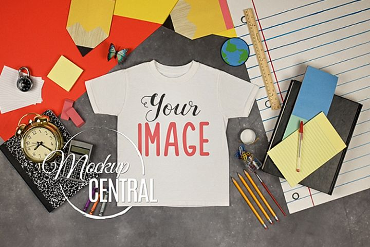 Youth T-Shirt School Mockup, Student Child Shirt JPG