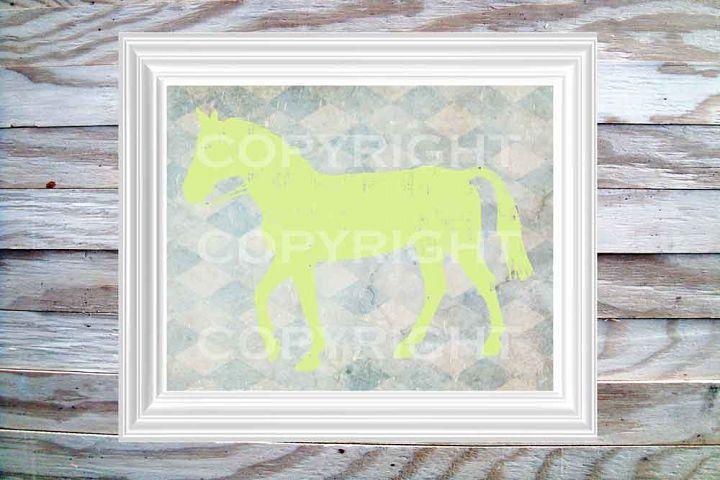 Horse Print, 8 x 10 Lime Green on on Blue Diamond Pattern