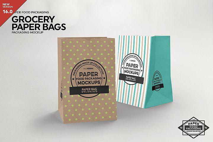 Grocery Paper Bags Packaging Mockup