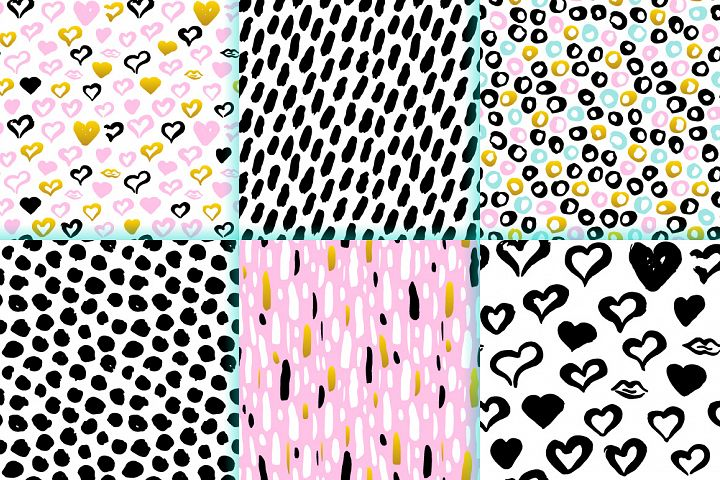 Brush Strokes Trendy Seamless Patterns example 1