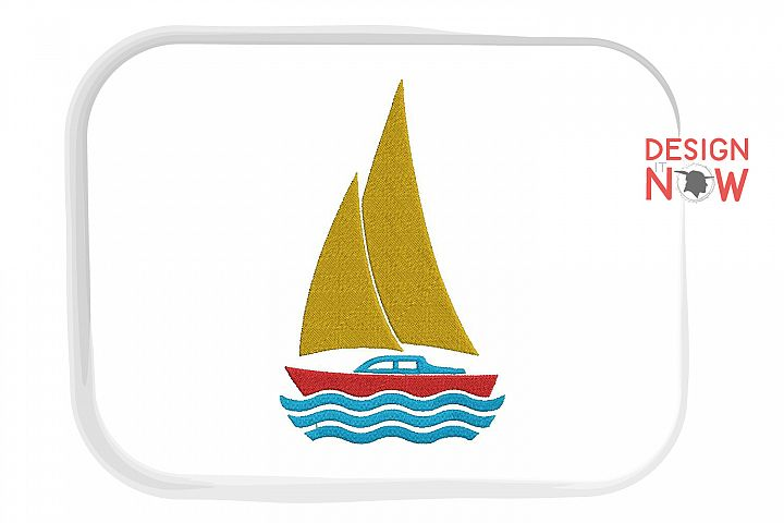 Boat Embroidery Design, Sailing Boat Embroidery Pattern, Sea