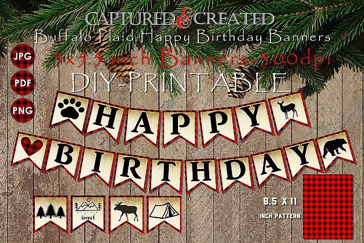 Buffalo Plaid Happy Birthday Banners / Pendants- Printables