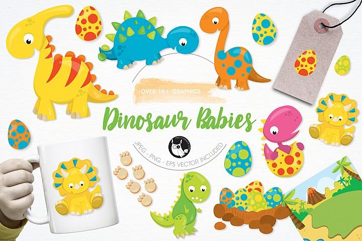Dinosaur Babies graphics and illustrations - Free Design of The Week