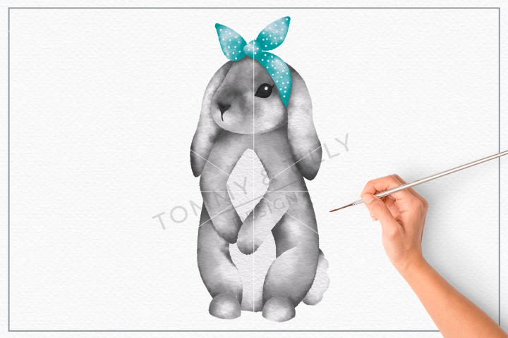 Grey Bunny Bandana No.2 - Sublimation PNG Clipart