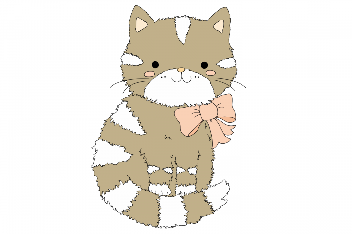Cute Cartoon Cat With A Pink Bow | Clip Art Illustration