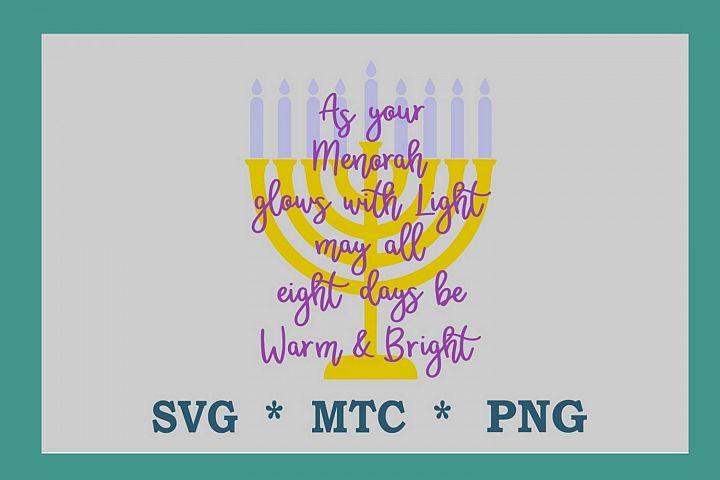 SVG Hanukka Warm & Bright Saying Design #05 Cut File