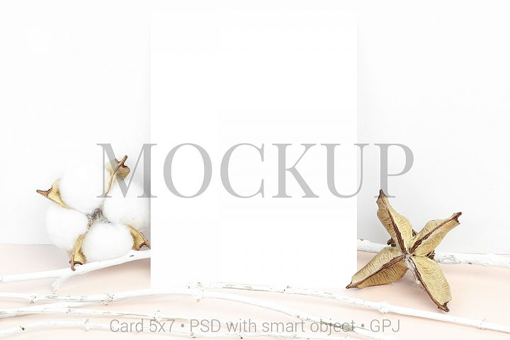 Mockup card with white branches and cotton flowers