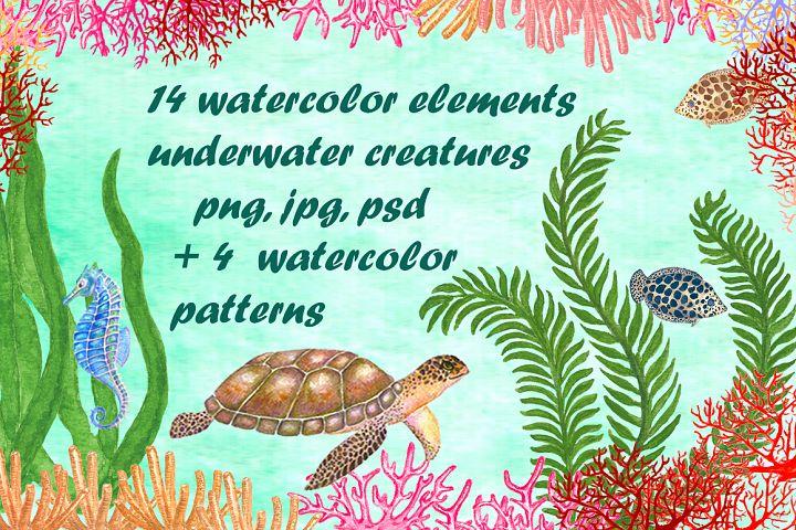 Set of watercolor sea creatures