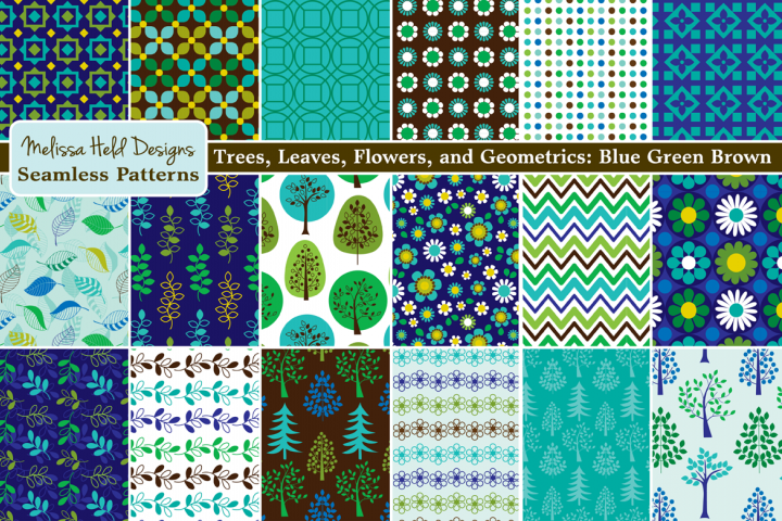 Seamless Trees, Leaves, & Flower Patterns