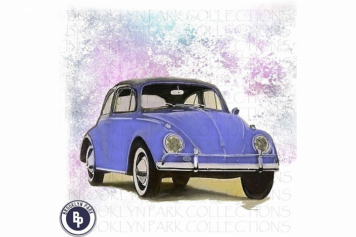 Retro VW Beetle Bug Car, Art Print Sublimation PNG