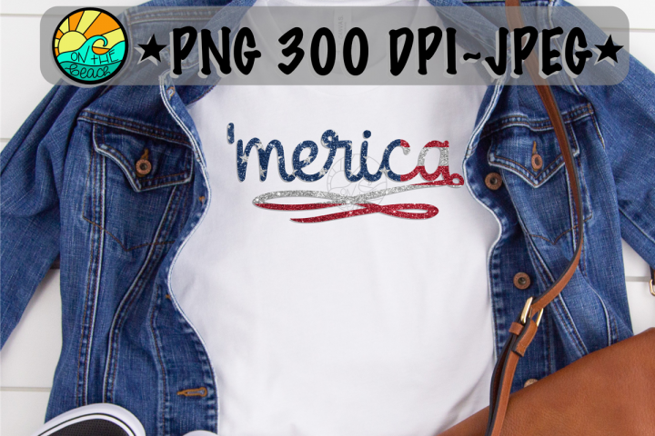 merica - Red White Blue Glitter- PNG 300 DPI -Sublimation