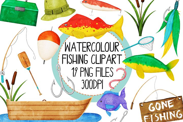 Watercolor Fishing Clip Art Set 1