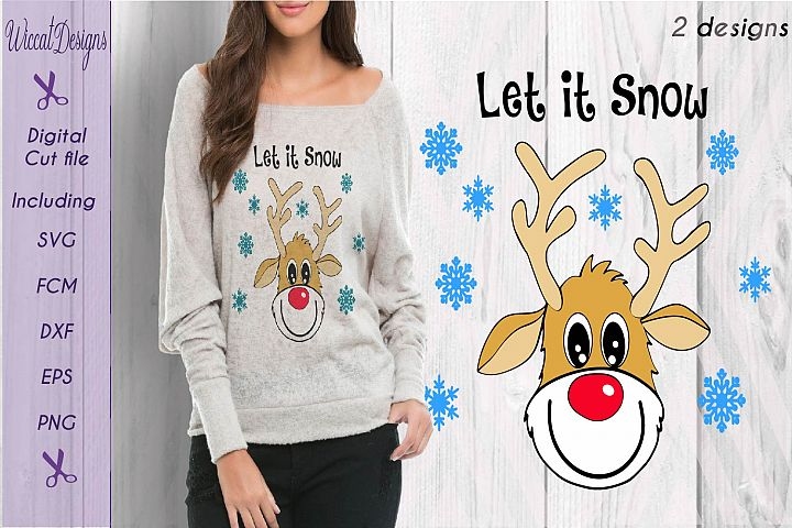 Funny Reindeer svg, reindeer svg, Christmas sweater svg, Christmas svg, Let it snow