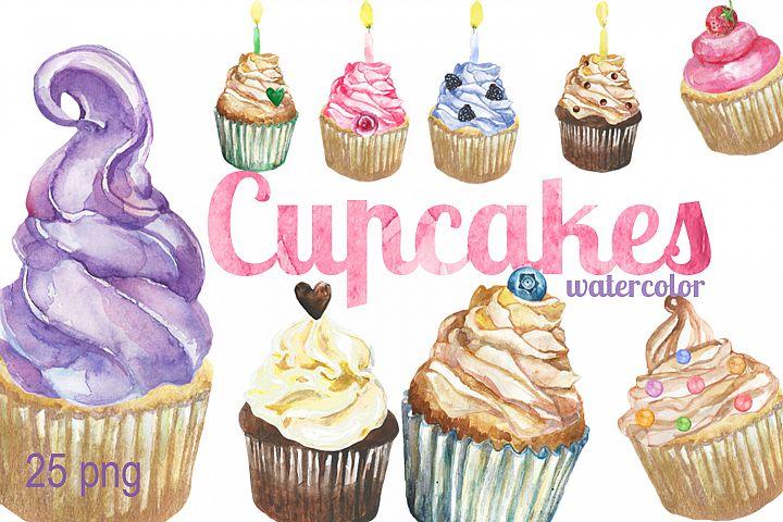 Digital Watercolor Cupcakes Clip art