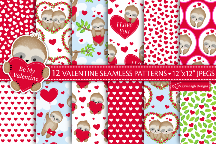 valentine digital papers, valentines seamless patterns -P47