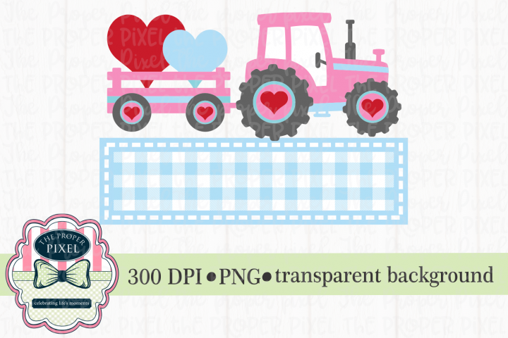 Tractor Valentine Design for girls, PNG sublimation download