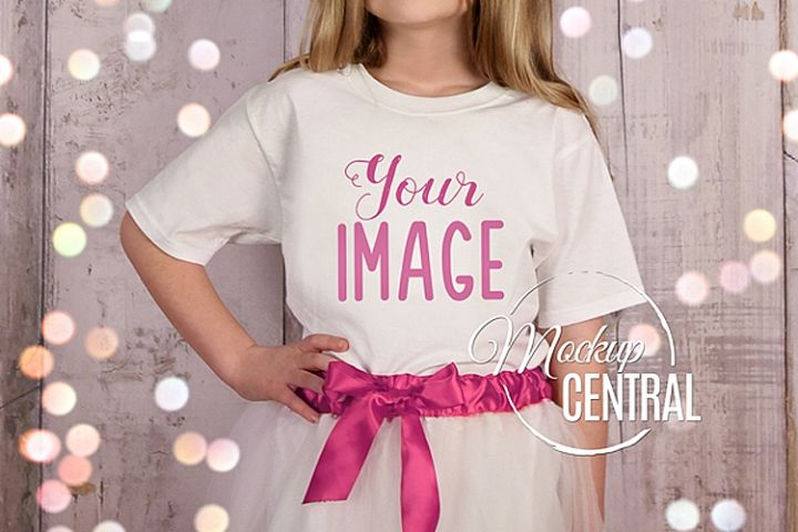 Princess Youth Girls White T-Shirt Mockup, Child Shirt JPG