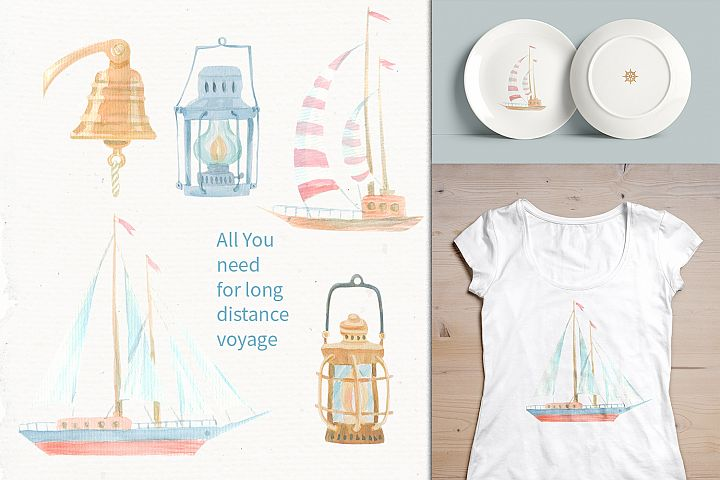 Nautical watercolor clipart collection - Free Design of The Week Design4