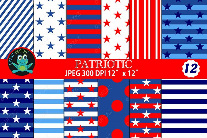 Patriotic Pattern Digital Papers