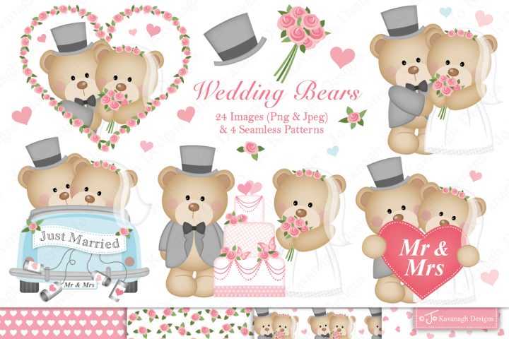 Wedding graphics & illustrations, bride and groom -C34