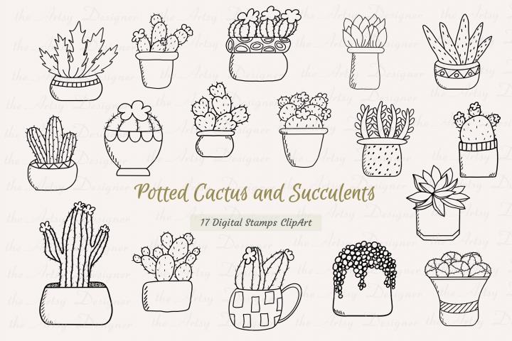 17 Digital Stamps Potted Cactus Succulents Plants Clipart