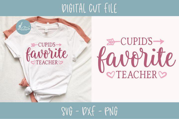 Cupids Favorite Teacher - Valentines Day SVG, DXF & PNG