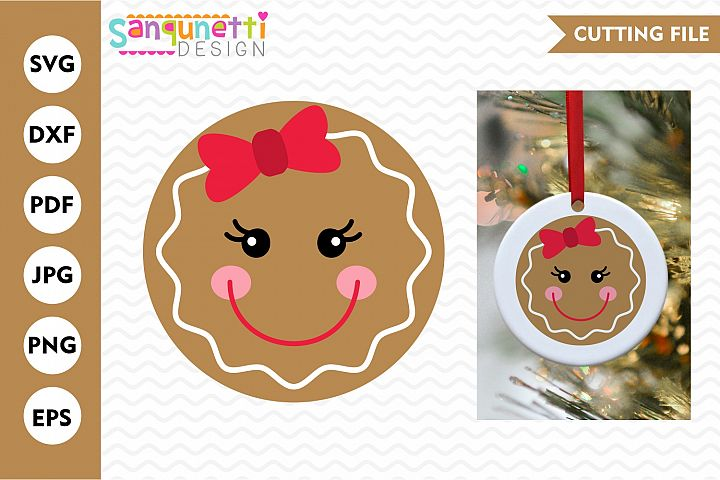 Gingerbread girl face SVG, christmas character cutting files