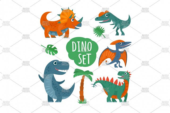 Dinosaurs set. Vector colorful flat illustration