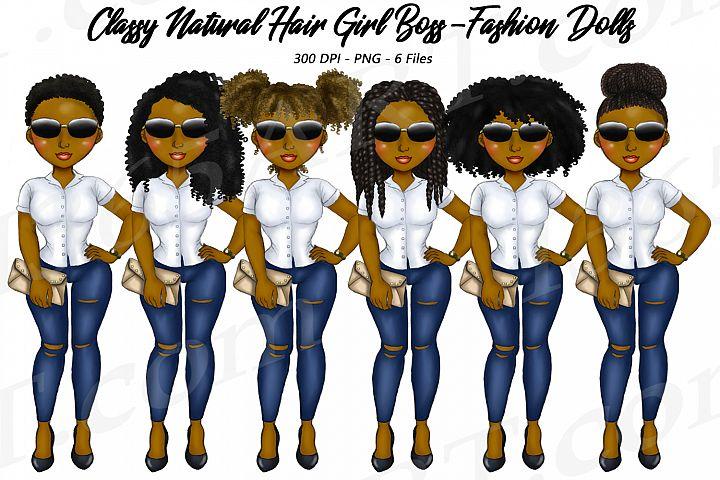 Classy Girl Boss Natural Hair Clipart, Black Girl Dolls