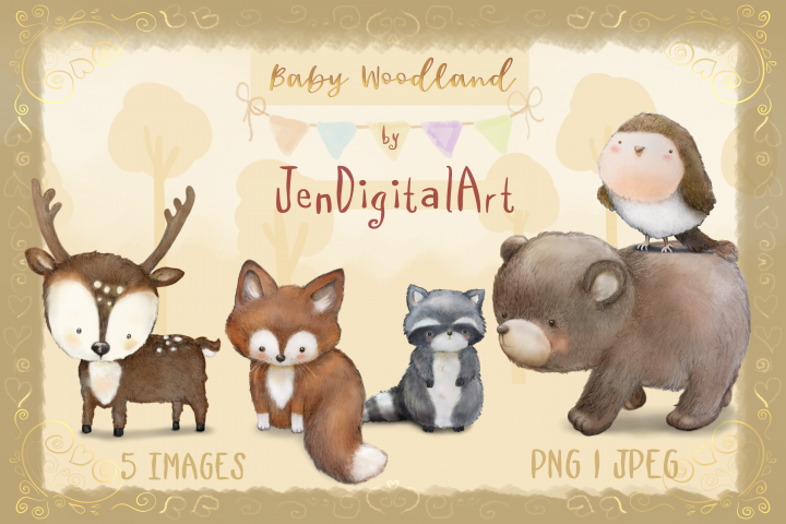 Baby Woodland | 5 animal illustrations | PNG/JPEG clip art