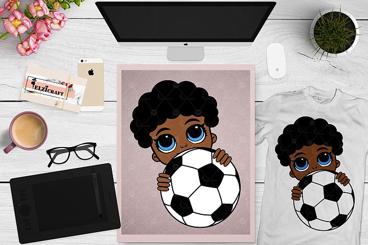 Afro Peeking Baby Boy, Football, Sport, Ball SVG Cut File