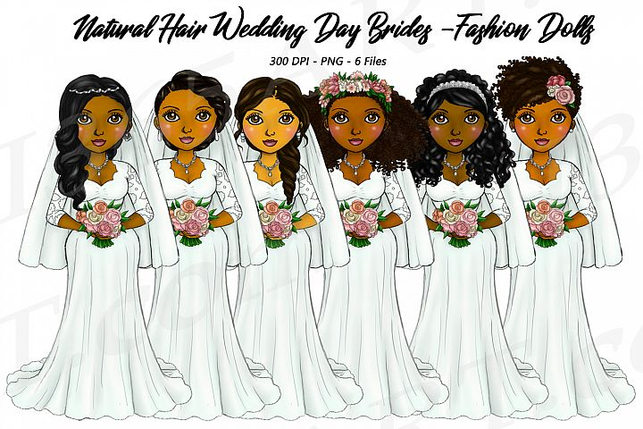 Bride Clipart Wedding Girls, Natural Hair Fashion Dolls, PNG