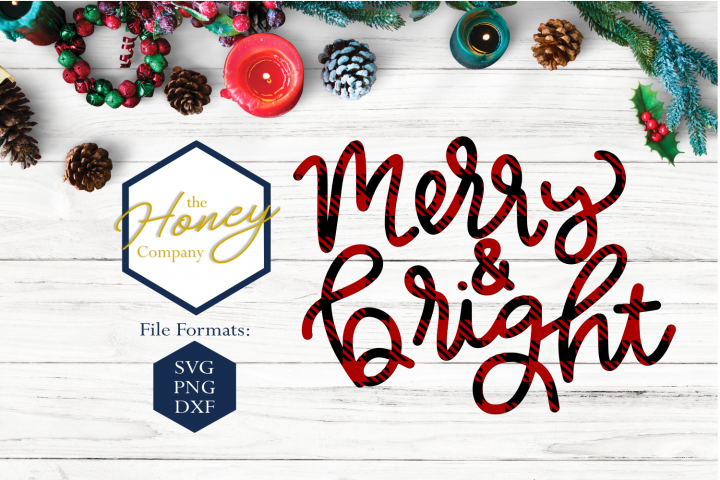 Merry and Bright SVG PNG DXF Christmas Plaid Hand Lettered