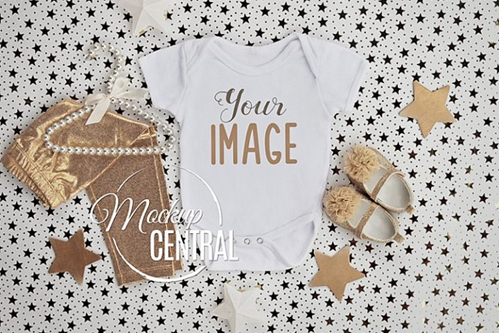 Gold Star Baby Girls Onepiece Bodysuit Mockup Shirt JPG